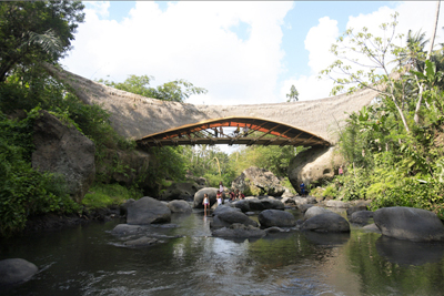 Green School, Bali. Kul-Kul bridge over the Ayung River, an iconic symbol of the school.