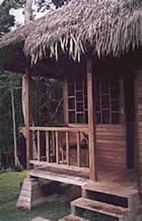 Eco Lodge Rio Napo, Ecuador. One of 8 private thatch roof cabanas at the community-owned eco-lodge. Photo: Sani Lodge